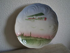ASSIETTE AVION BIPLAN 1900 CERAMIQUE BADONVILLER ART NOUVEAU AVIATION PIONIER