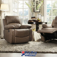 Leather Recliner Chair Single Couch Reclining Sofa Theater Lazy Comfy Brown