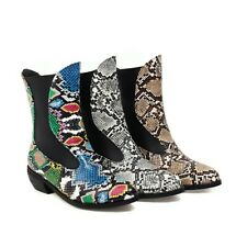 Women's Snakeskin Low Heels Boots Pointed Toe Punk Ankle Booties Fashion Shoes