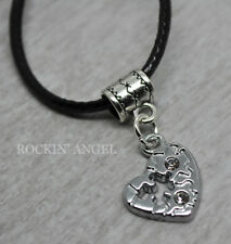 Autism Puzzle Heart Awareness Pendant Necklace With Crystals Ladies Gift ASD