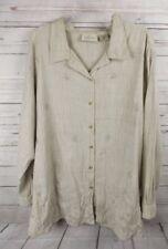 67b8f0ce91c7e Lemon Grass Shirt Top Size 22W Beige Print Silver Embroidery Details