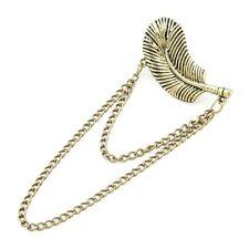 Antique Gold Finish Gothic Punk Rock Chain Feather Leaf Ear Cuff Earring