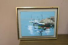 "Vintage Oil on Canvas Painting Signed M. Nugent 6"" x 9"" - 12"" x 14"" Harbour Boat"