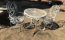 It's a Small World Disneyland Style Vintage Wrought Iron Chairs Table Bistro Set