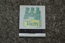 RARE Vintage 1960's Teem Soda 20-Count Front Strike Match Book FULL & EXCL COND!
