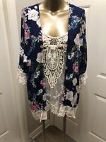 UMGEE MULTICOLORNAVY BLUE FLORAL Crochet Trim KIMONO MEDIUM