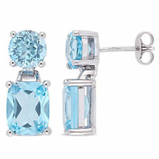 Amour Sterling Silver Sky-Blue Topaz Dangle Earrings
