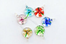 FREE Wholesale 18pcs Round Lampwork Glass Bead small Pendants DIY Necklace #60