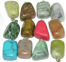 100 gemstone pendants lot agate turquoise jade quartz mixed tumble Baroque