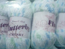 JAMES C BRETT BLUE GREEN FLUTTERBY BABY CHUNKY KNITTING WOOL 200 GRAMS YARN B8