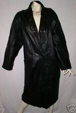 BLACK vintage COAT TRENCH LEATHER LEARSI MEDIUM
