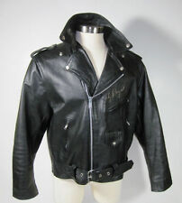 Mens Black Leather Motorcycle Jacket Coat 50 - XL