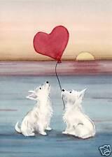 Romantic West Highland Terriers (westies) on beach / Lynch folk art print