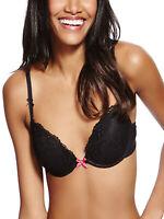 Ladies Marks & Spencer, Black Padded, Plunge, Push-up Bra, Sizes 34-36 (B-DD)