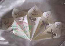 50 coni portariso/confetti in pergamena naturale con iniziali e fiocco art.PIF01