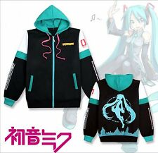 Anime Hatsune Miku Costume Unisex Zipped Jacket Hoodie Sweatshirt Coat S-2XL