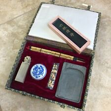 Japanese Chinese Calligraphy Set With Japanese Ink Block Charcoal Painting