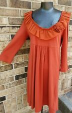 Darling Tangerine J CREW COTTON BLEND WITH RUFFLED PLUNGING NECKLINE 36-31-44