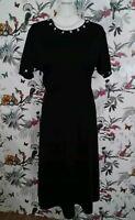 *BNWT* Customised Rose Buds Black Midi Retro Skater Stretchy Dress Plus Size 20