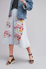 Anthropologie, Seen Worn Kept, Lyn Midi Skirt, Blue Striped Floral Embroidery, S