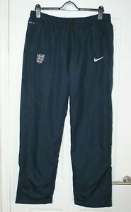 "MENS NIKE ENGLAND FOOTBALL TRAINING TRACK PANTS BLUE SIZE LARGE 35 - 38"" DRI FIT"