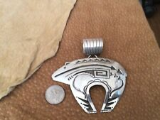 Sterling Silver Overlay Bear Pendant By Native American Silversmith Henry Begay