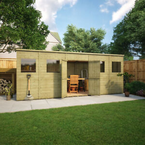 Pressure Treated Pent Garden Shed Central Doors Fast Delivery 15 Years Guarantee