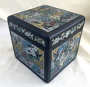 Vintage Hand Decorated/Carved Olinala Lacquer Box - Fantasia Animals/Plants