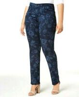 New! CHARTER CLUB Dark Wash Blue Floral Print Straight Leg Jeans