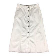 M&S White Denim A-line Raw Edge Hem Midi Button Down Split Skirt 8 10