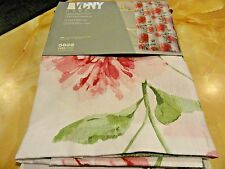 new~13 SHOWER CURTAIN~HOOKS~White~Pink Large Flowers Cabbage Roses Greenery