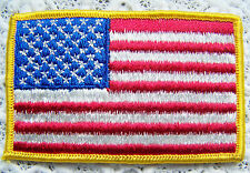 NEW ~ AMERICAN FLAG EMBROIDERED PATCH, GOLD BORDER USA IRON ON ~ NEW