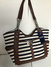 NEW! CHAPS RALPH LAUREN ROMA NAVY WHITE LARGE SATCHEL SHOPPER BAG PURSE $79 SALE