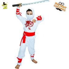 Child Ninja Assassin Costume Halloween White Hooded Warrior Fancy Dress for Boy