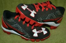 Under Armour Youth Baseball / Softball Cleats Black Red White Size 12K Guc