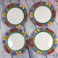 "4 SANGO Sweet Shoppe Christmas Dinner Plates (3041) - 11"" Snowman Holly Set / N2"