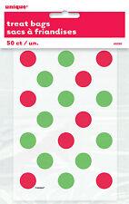 50 X Navidad Rojo y Verde Lunares Bolsas Sorpresa Pequeño Celofán Cotillón
