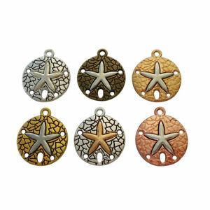 10 x Silver/Bronze/Gold Tone Sand Dollar Starfish Charms Pendants Beads 23x20mm