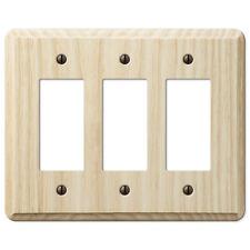 Triple (3) Gfi Rocker Unfinished Ash Wood Switchplate Wallplate: Paint Or Stain