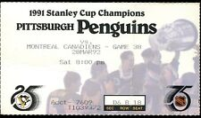 Ticket Hockey Pittsburgh Penguins 1991 92 3/28 Montreal Canadiens Stanley Cup