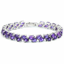 Sterling Silver Bracelet Purple Amethyst Genuine Gemstone Two Row 7 1/4 Inch