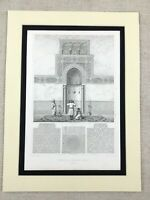 1857 Architectural Print Mihrab of Kous Mosque Cairo Egypt Antique Islamic