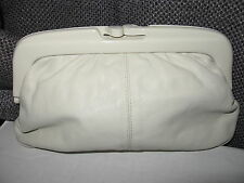 Vintage EATON made in ITALY cream leather clutch quality purse evening bag