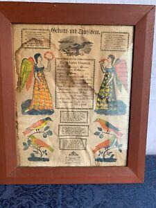 Antique 1831 Pennsylvania German Trauschein Wedding Fraktur from Allentown PA