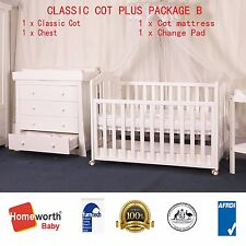 3 in 1 Classic Cot Organic Mattress Chest with Changer &Pad Crib Baby Bed White