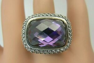 David Yurman Sterling Silver Waverly Ring 18 mm Amethyst White Sapphire DY pouch