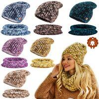 Set Scarf & Hat Women Winter Alpaca Wool Knitted Beanie Hat Worm Neck Fleece