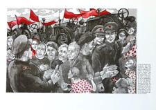 LEA GRUNDIG - 30 YEARS OF SED - RED ARMY * RARE EAST GERMAN ART PRINT 1976