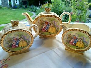 Sadler teapot milk jug lidded sugar Crinoline lady
