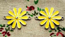 flower connector yellow silver & enamel charm jewellery supplies C672